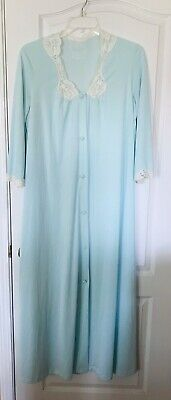 Light Green Teal Long Nylon Nightgown Sleepwear Buttons Lace Trim Size Large