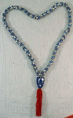 Chinese Porcelain Bead Necklace with Pendant with Shou Symbol & tassel