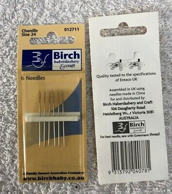 Birch Chenille embroidery needles, 6 needles. size 24. new unused