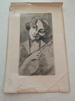 Antique Art Pencil Sketching Signed Hermann Captivating Woman With Violin