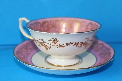 Vntg HAMMERSLEY England Bone China Pink & White Gold Gilt Tea Cup & Saucer Set