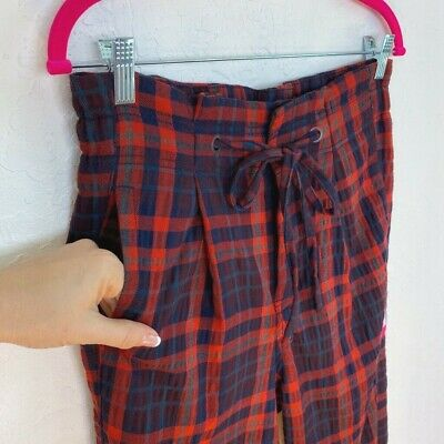 Free People Womens Here And There Trouser Pants Red 2 Plaid Drawstring Pockets