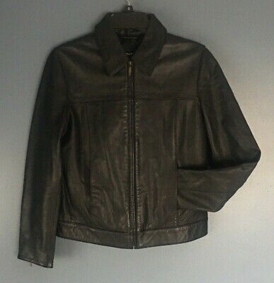 GAP Mens Black Leather MOTO Jacket Lightly Lined Size Small