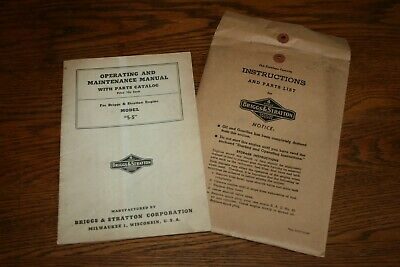 Briggs and Stratton Gas Engine Model 5 S Original Owners Manual with Envelope