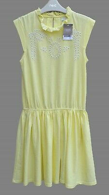 BNWT NEXT Girls Lemon Mix Embroidered Stripe Dress Cotton Jersey 11 Years RRP£16