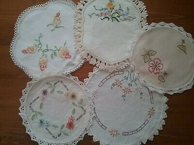 5  VIntage Embroidered Doilies