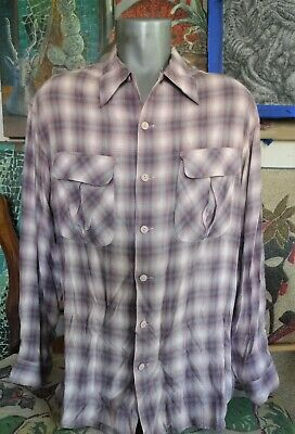 50's Style ERNEST LE GAMIN Paris Pink SHADOW PLAID Loop Collar Rayon Shirt XL