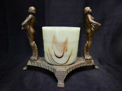 1920'S Art Deco Nude Egyptian Revival Centerpiece  Vase Vidrio Products Corp.