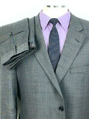 46R* Jos A Bank Mens 2 Button Wool Suit Slate Gray Nailshead Pants 42 Exc!