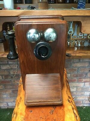 Vintage PMG Wood Cabinet, Magneto Wall Telephone