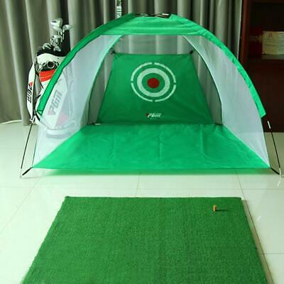 12ft Golf Practice Cage Driving Net Training Aid Mat w/ Driver Irons Free Bag