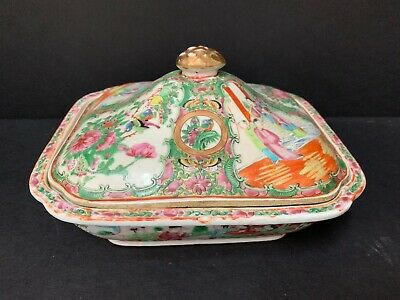Antique 19Th C. Chinese Export Famille Rose Medallion Mandarin Covered Bowl