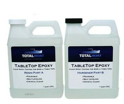TotalBoat Table Top Epoxy Resin 2 Qt Resin & Hardener Kit for Wood Concrete Art
