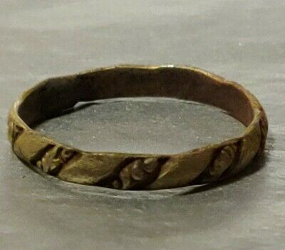 Authentic Celtic Ring Bronze Medieval Early Renaissance Era Band,   Size 9, 3MM.