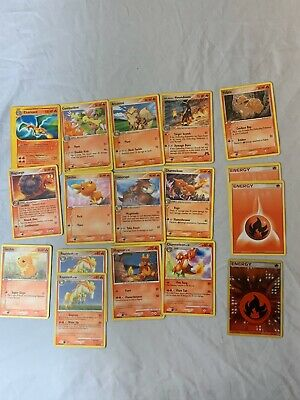 17 POKEMON CARD GIFT LOT Common + Uncommon CARDS AUTHENTIC OFFICIAL Fire Type