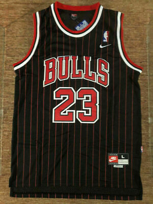 MICHAEL JORDAN 23 Chicago Bulls PINSTRIPE Black Men's Swingman Jersey