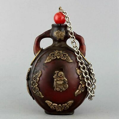 Collectable Old Amber Inlay Miao Silver Hand-Carved Buddha Delicate Snuff Bottle