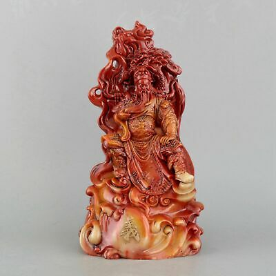 Collectable China Old Shoushan Stone Hand-Carved General Guan Yu Delicate Statue