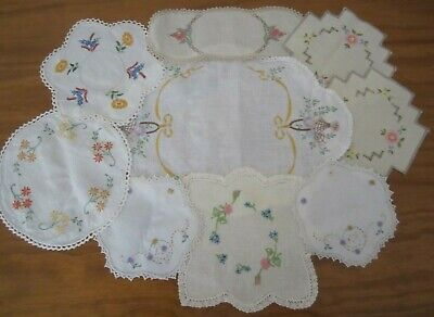 COLLECTION of 9 RETRO (MOSTLY) HAND EMBROIDERED LINEN & COTTON DOILIES-VGC