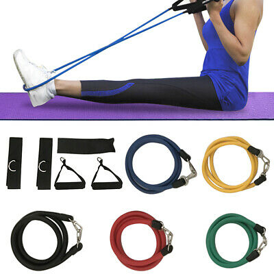 11 Resistance Bands Set Elastic Pull Rope Full Body Waist Arm Training Yoga Gym
