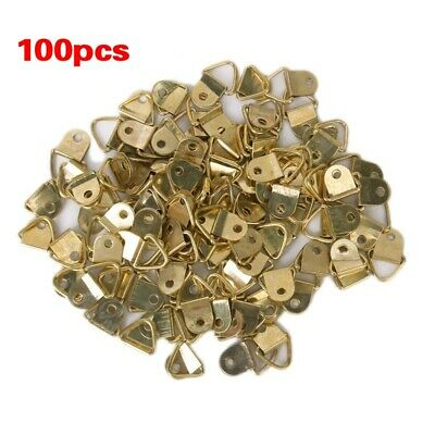 2X(100 pieces Small D-Ring picture frame hangers Single Hole with Screws F8P5)