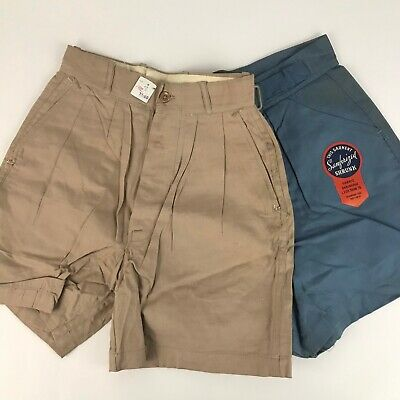 1950s Boys Shorts Lot / NOS Blue Brown Buckle Belted Shorts 2 Pair / Size 8
