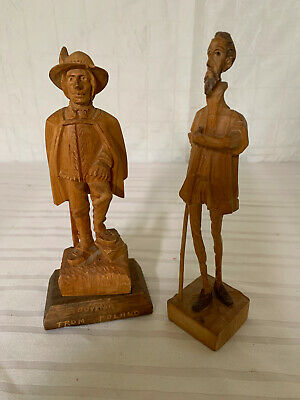 Vintage Wood Carved Figurines - Lot of 2 - Trygg style