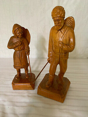 Vintage Quebec Wood Carved Figurines Snowshoers - TRYGG style
