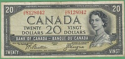 1954 Bank of Canada $20 Devil's Face Note - Beattie/Coyne - D/E8128042 - VG/Fine