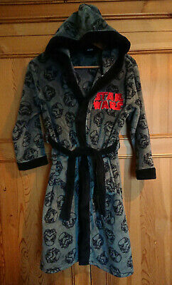 Star Wars Boys Dressing Gown Robe Hooded with Belt Storm Trooper Print Age 9-10