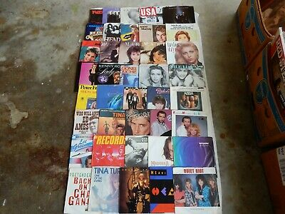 Various Genres One Lot Of 40 Records With Picture Sleeves 45 Rpm Records