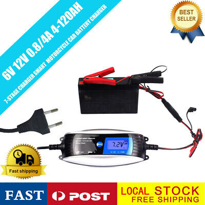 220V 6V/12V 0.8/4A Waterproof Automatic Smart Battery Charger for Car Motorcycle