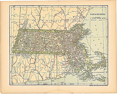 "Original 1903 Antique Map Population Table Massachusetts Dodd Mead & Co 12""X10"""