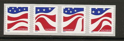 US Forever Red, White, and Blue coil strip of 4 - Scott order 4894-4897
