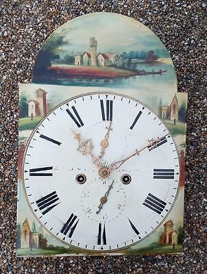 "12"" Painted Arched Dial Long Case Clock Movement Circa 1840"