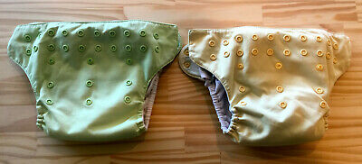 bumGenius Preloved All-in-One Snap Cloth Diapers Two-Pack One Size Green Yellow
