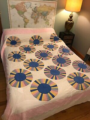 VTG 1940's Quilt Hand Stitched Quilted Multi Rainbow Circle Pastel Colors 90x100