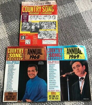 Lot Of (3) COUNTRY SONG ROUNDUP MUSIC MAGAZINES 1965 Yearbook, 1968 1969 Annuals