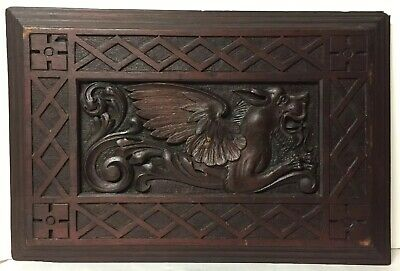 Antique Carved Wood Griffin Architectural Furniture Salvage, Nice Carving Detail