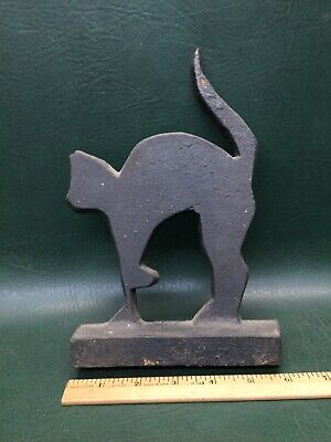 Vintage Art Deco Cast Iron Black Cat Doorstop Bookend