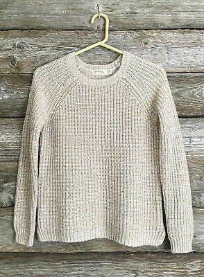 Faded Glory Womens Beige L/S Crew-neck Sweater Shirt Cotton Blend M 8/10 Top