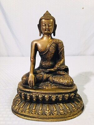 Large Antique Vintage Old Chinese Tibet Gilt Bronze Buddha Statue Double Lotus