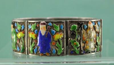 antique Chinese Export Silver filigree Enamel Bracelet 6 Immortal figures 17.5