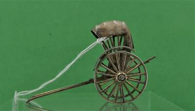 Antique Chinese Export Silver Miniature Model Rickshaw Cum Wo  c 1900 fine item
