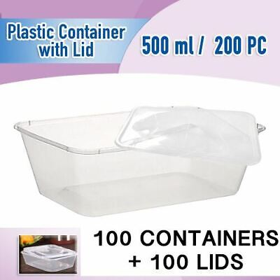 Take Away Containers 100Pc & Lids 100Pc 500 Ml Disposable Plastic Food Container
