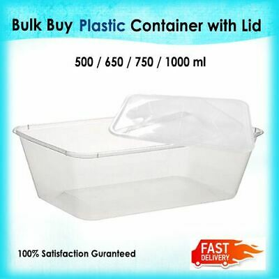 Food Containers Takeaway Plastic Container + Lids Bulk 500ml 650ml 750ml 1000ml