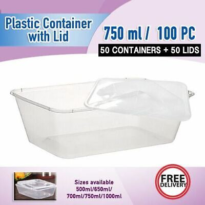 Takeaway Food Container 750ml 100pc CONTAINERs+LIDS Disposable Plastic Container