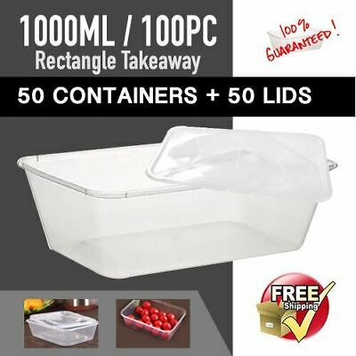 Disposable Takeaway Plastic Containers 50 Pc + 50Pc Lids 1000 ml-Sydney Only