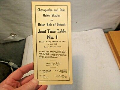 1970 Chesapeake & Ohio Union Station - Union Belt of Detroit Joint #1 Time Table