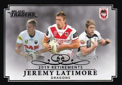 2020 Nrl Traders Retirement Parallel - Rp13 Jeremy Latimore Dragons - #08 Of 37